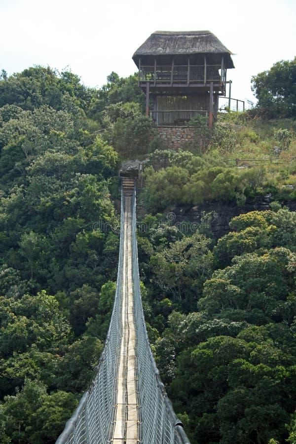 POSZYCIE punkt obserwacyjny NA DALEKIEJ stronie zawieszenie most NAD ORIBI wąwozem fotografia stock