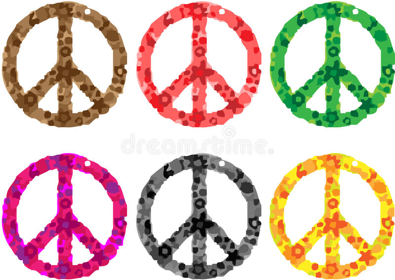 Potência de flor do sinal de paz ilustração stock