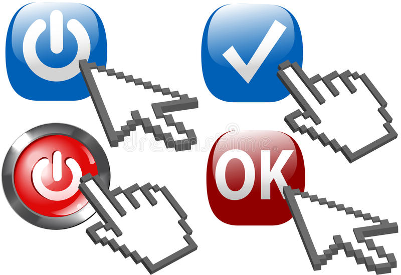 Potência do clique da mão da seta do cursor em símbolos da APROVAÇÃO da verificação ilustração do vetor