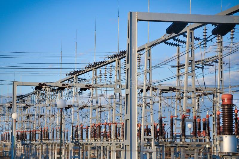Potência elétrica da subestação e da distribuição fotos de stock