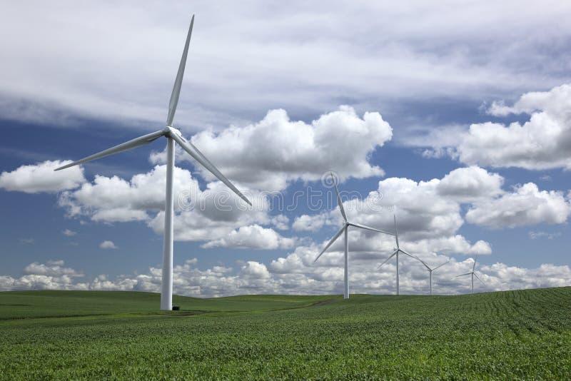 Potência que gera moinhos de vento imagem de stock