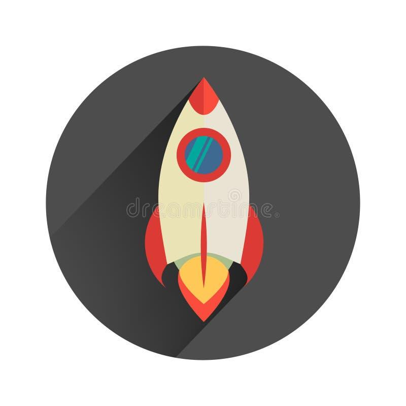 potężny rakietowy zaczyna w górę płaskiego projekta w ilustracja wektor