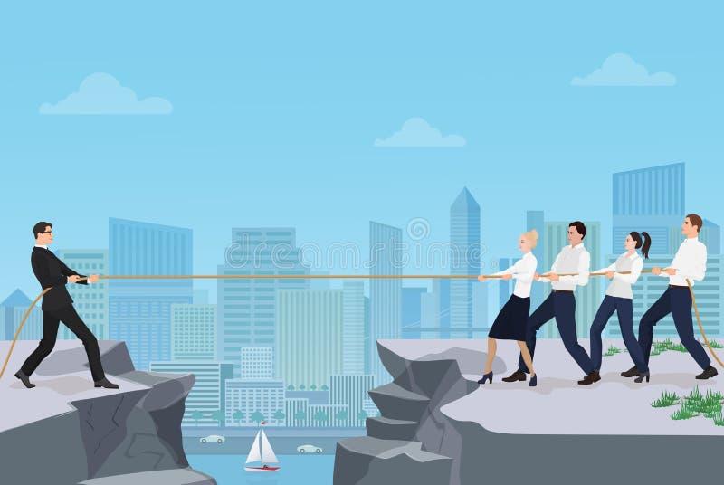 Potężny silny biznesmena konkurowanie z grupą biznesmenów biurowi ludzie zespala się ilustracja wektor