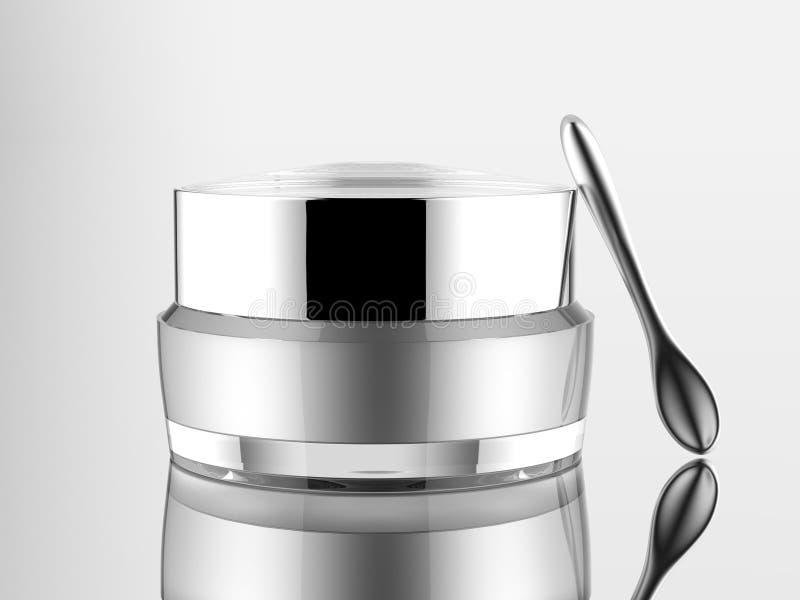 pot acrylique cosmétique de blanc avec la spatule argentée de Matt sur le fond blanc d'isolement illustration stock