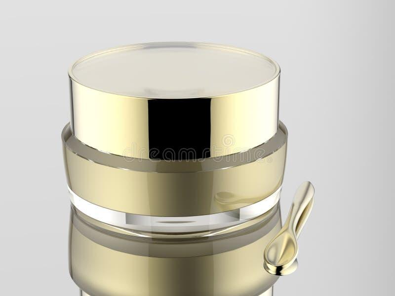 pot acrylique cosmétique de blanc avec la spatule d'or de Matt sur le fond blanc d'isolement illustration libre de droits