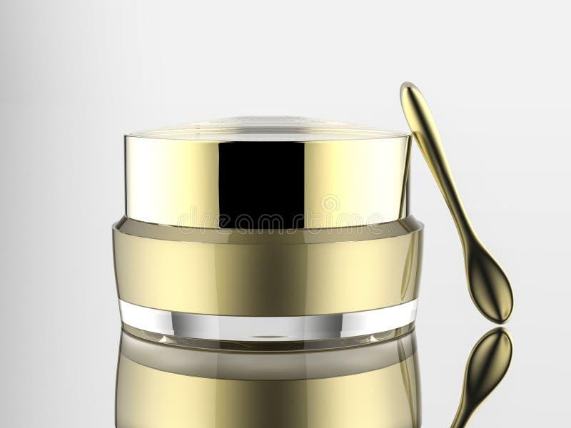 pot acrylique cosmétique de blanc avec la spatule d'or de Matt sur le fond blanc d'isolement illustration de vecteur