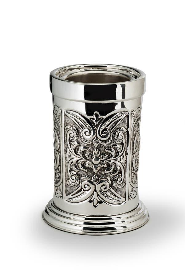 Pot argenté de cylindre de Tableau photo libre de droits