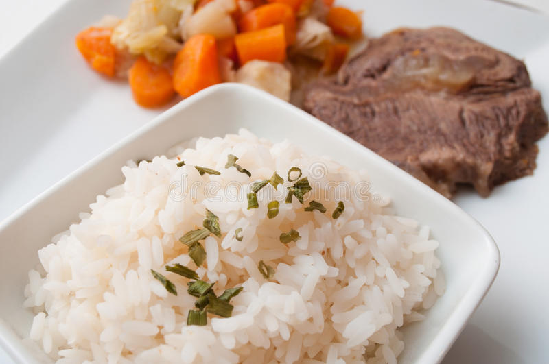 Pot-au-feu with beef and rice royalty free stock photo