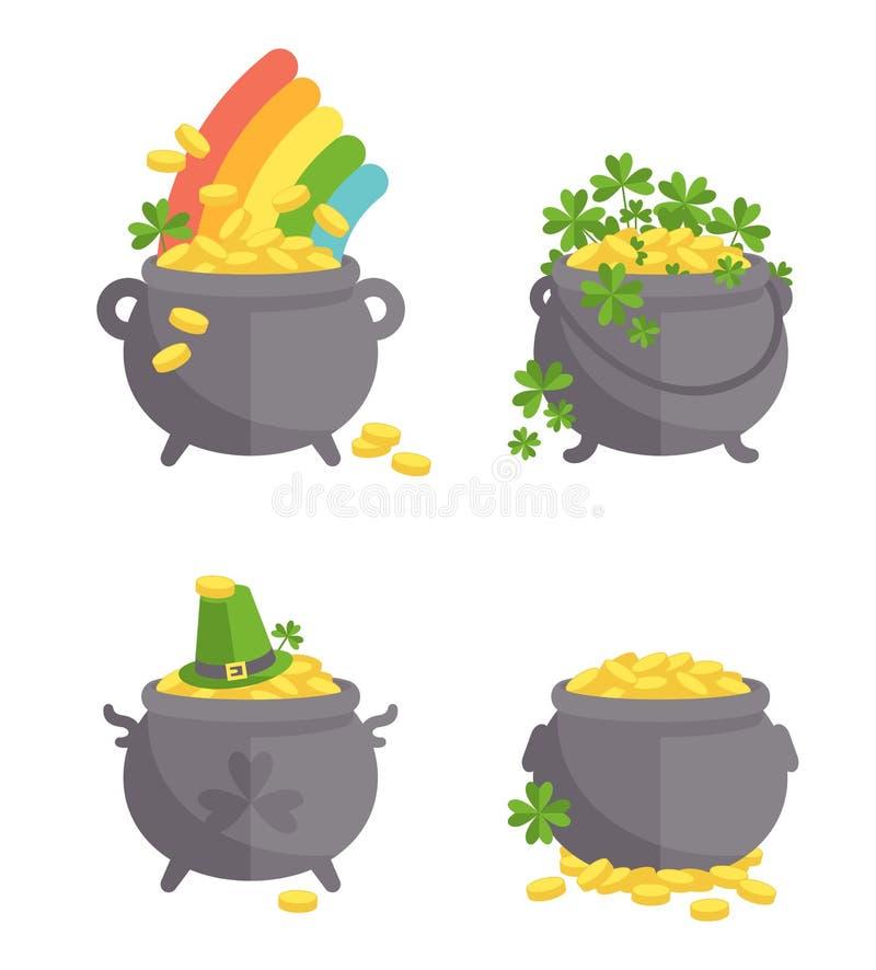 Pot avec l'ensemble d'or illustration de vecteur