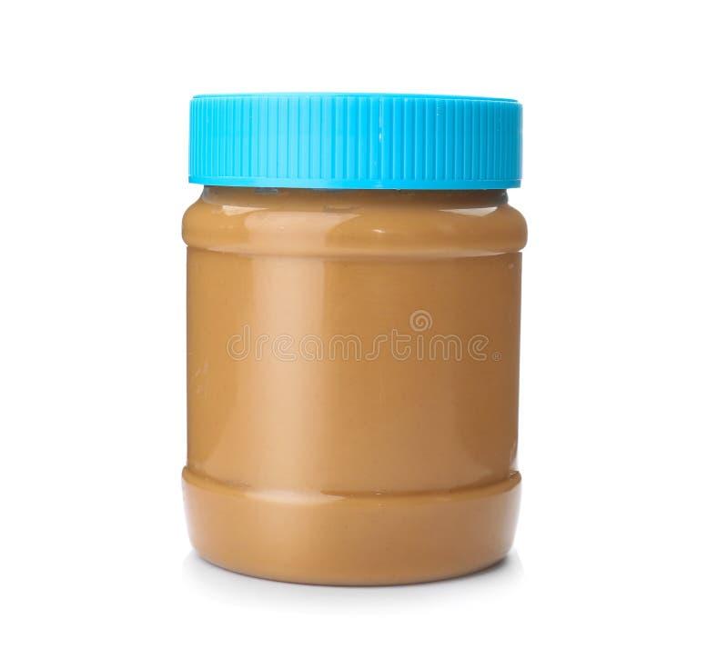 Pot avec le beurre d'arachide crémeux photographie stock libre de droits