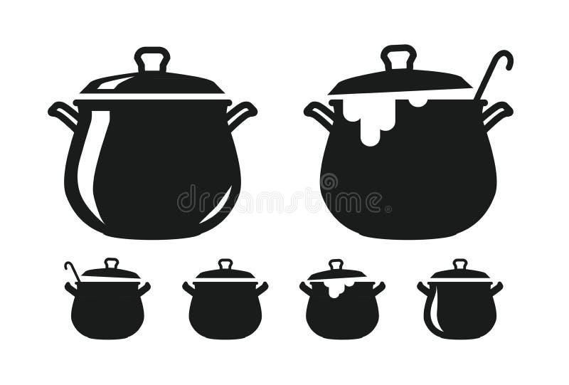 Pot avec le couvercle, casserole de silhouette de soupe Cuisson, cuisine, cuisine, art culinaire, icône de cuisine ou logo Illust illustration libre de droits