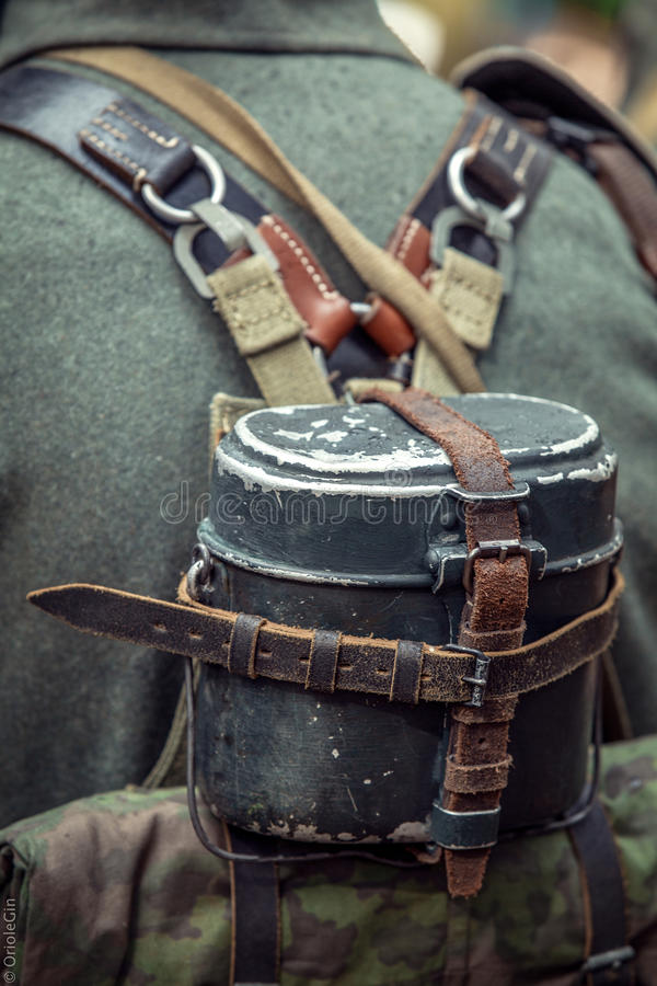 A pot on the back of a German soldier. royalty free stock photo