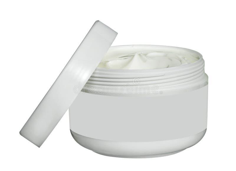 Pot blanc de crème de beauté d'isolement sur le blanc image stock