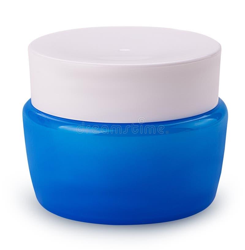 Pot bleu avec de la crème photo libre de droits