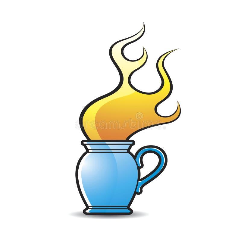 Pot bleu de couleur avec la flamme du feu illustration stock