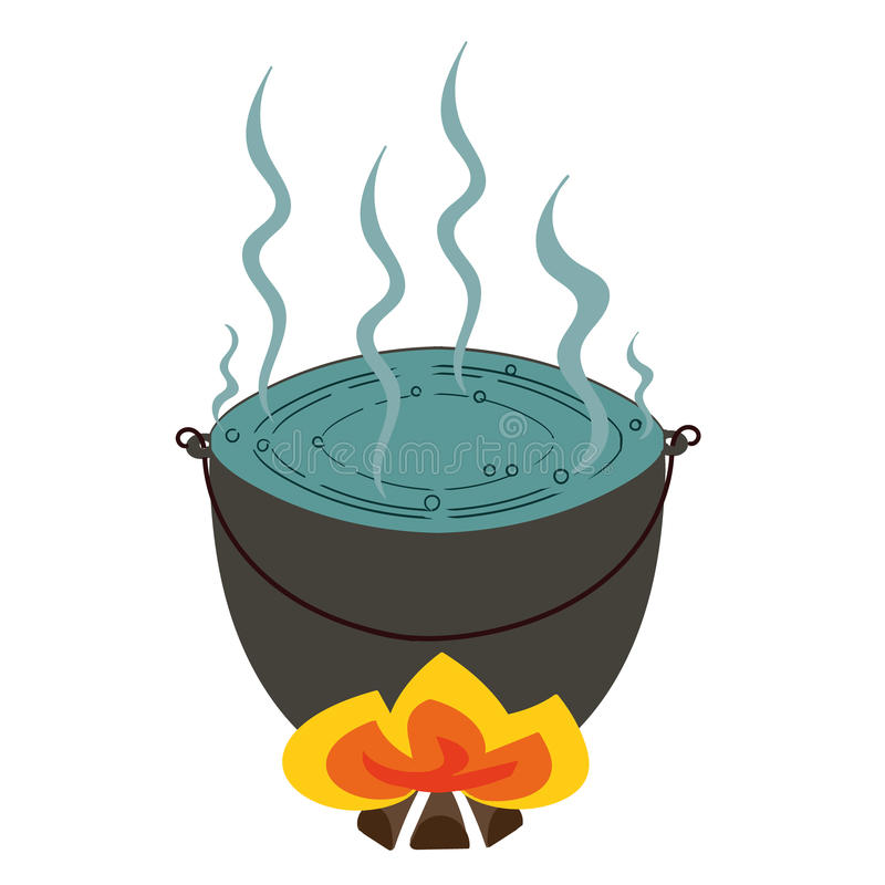 Pot Of Boiling Water On The Fire Stock Illustration ...