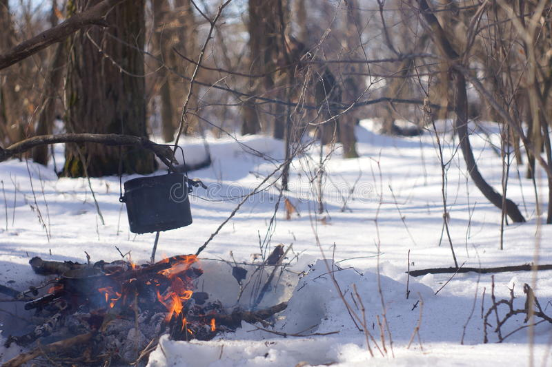 A pot of boiling water on the fire warms in the winter forest, royalty free stock photo