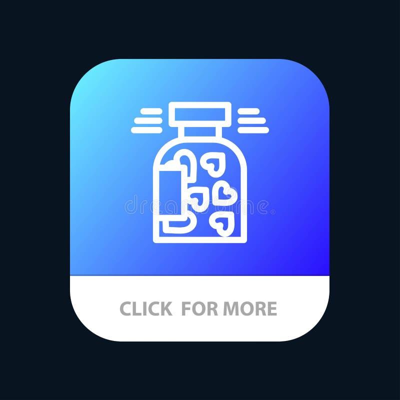 Pot, bouteille, biscuits, coeur, Valentine Mobile App Button Android et ligne version d'IOS illustration de vecteur