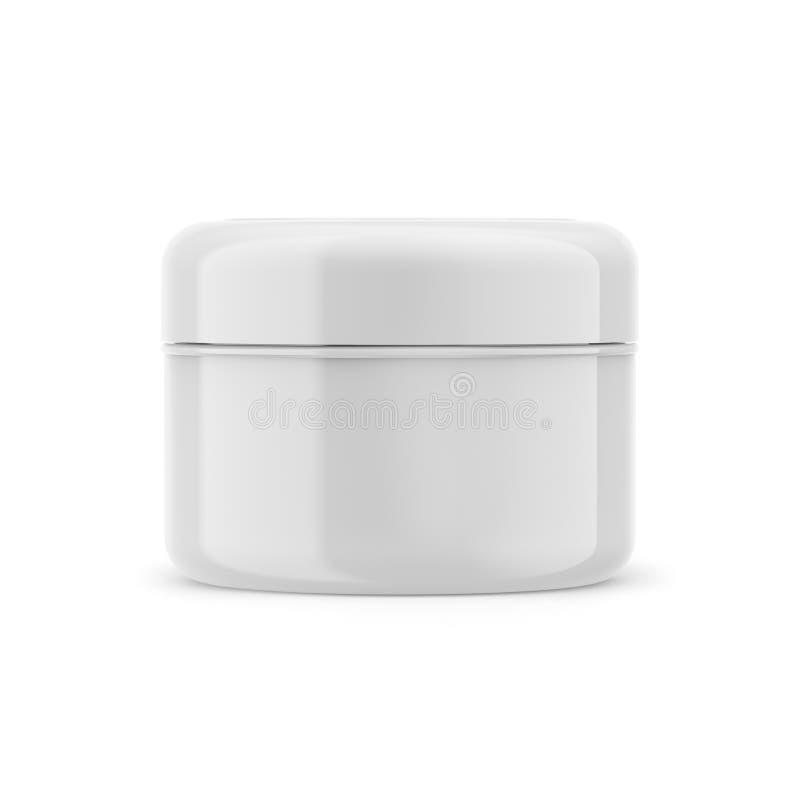 Pot brillant cosmétique de crème de beauté, récipient en plastique 3D blanc d'isolement sur un fond blanc, maquette de produit illustration de vecteur