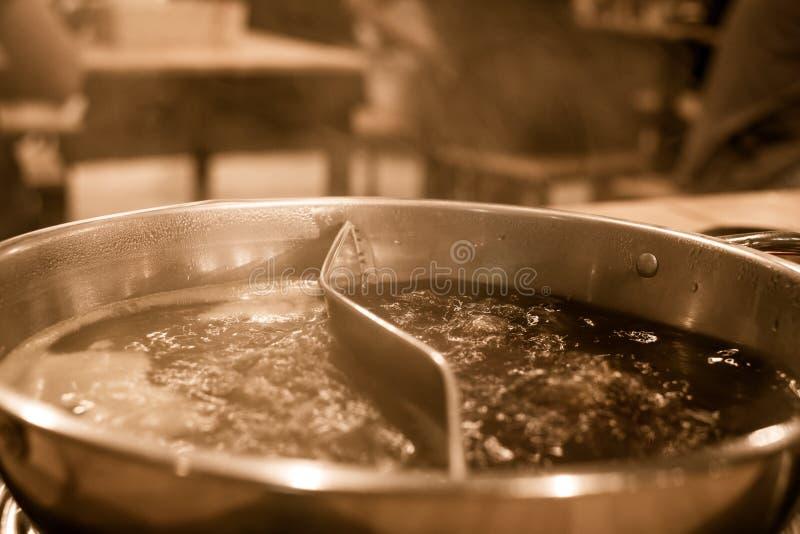 Pot chaud de ébullition avec la faveur de deux soupes images stock