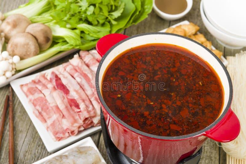 Pot chaud de Szechuan image libre de droits