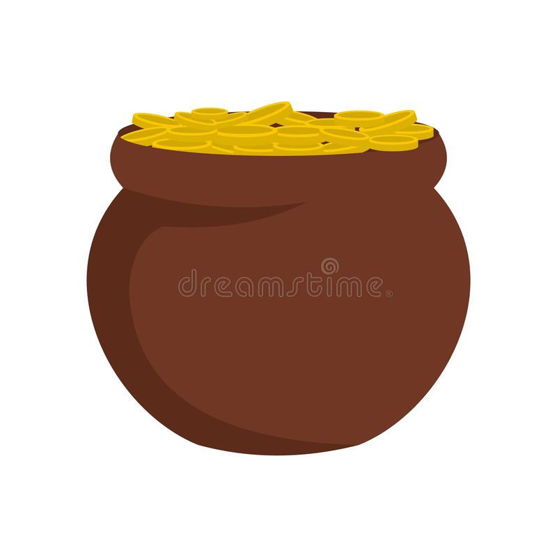 Pot coin icon, flat style stock illustration