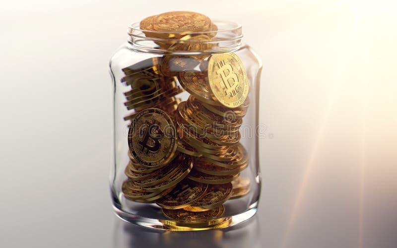 Pot complètement de bitcoins Bonnes habitudes en stockant le concept de cryptocurrencies Rendu 3d réaliste illustration de vecteur