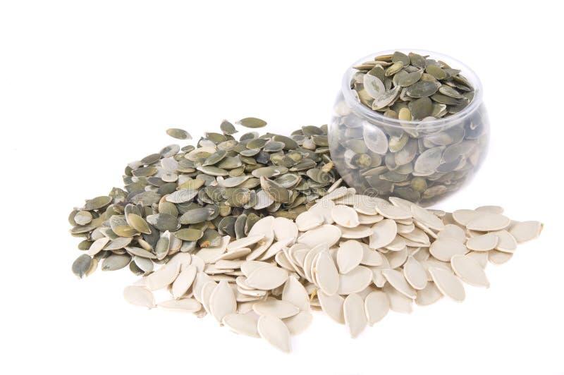 POT con i semi di zucca immagine stock
