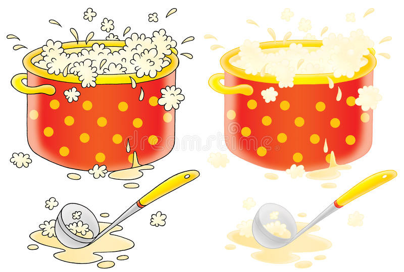 Download Pot With Cooking Soup And Ladle Stock Illustration - Image: 11238679
