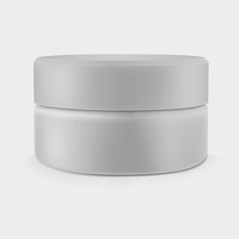 Pot crème gris fermé d'isolement illustration stock