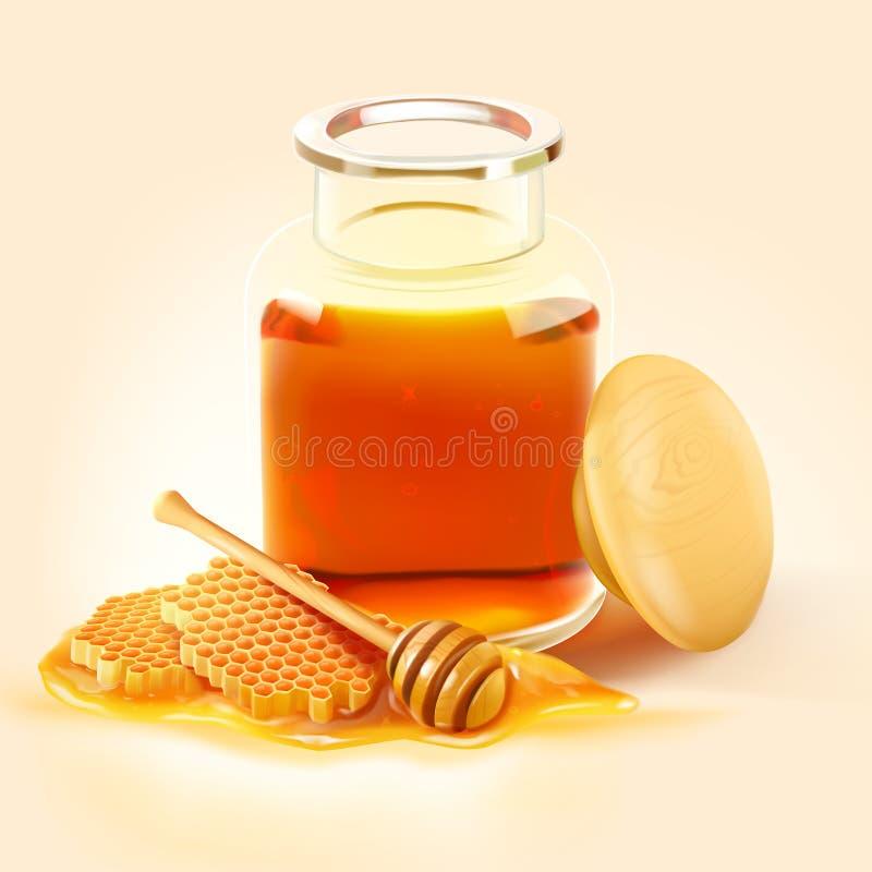 Pot d'abeille de miel avec le peigne de miel et le plongeur en bois illustration libre de droits