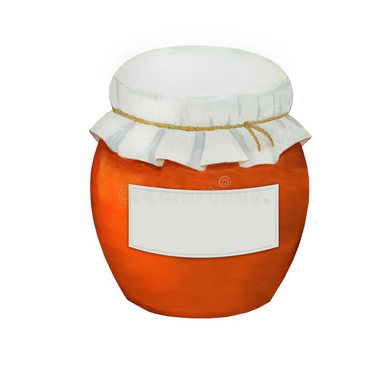 Pot d'argile dans un style rustique, un autocollant pour l'inscription illustration stock