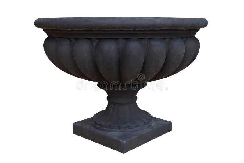Pot d'argile noir de terre cuite de style romain et européen de cru pour l'usine de jardin d'isolement sur le fond blanc pour le  photos libres de droits