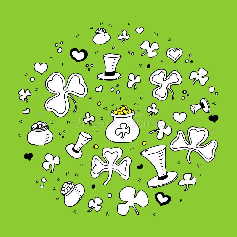 Pot d'or, chapeaux, trèfle, minette Jour heureux du ` s de St Patrick illustration libre de droits