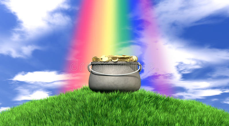Pot d'or et d'arc-en-ciel sur la colline herbeuse images libres de droits