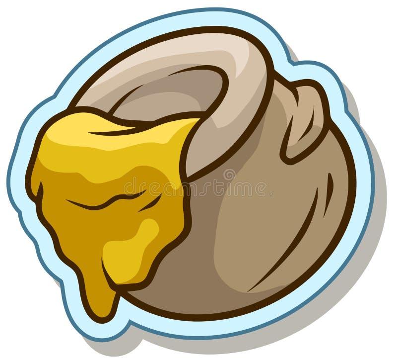 Pot de bande dessinée avec l'icône d'autocollant de vecteur de miel illustration stock
