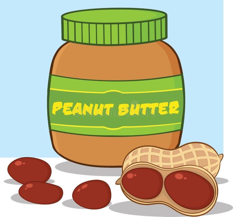Pot de beurre d'arachide de bande dessinée avec des arachides illustration libre de droits