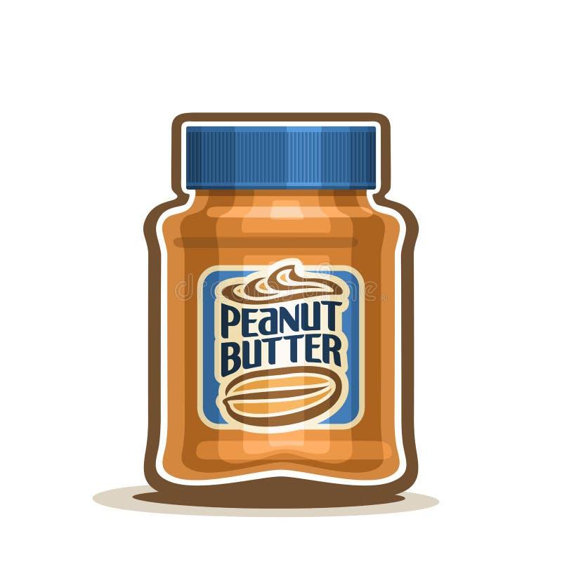 Pot de beurre d'arachide de logo de vecteur avec le label illustration libre de droits