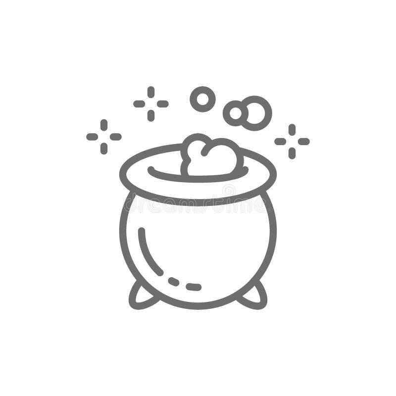 Pot de breuvage magique magique pour des sorcières, ligne icône de chaudron de Halloween illustration de vecteur