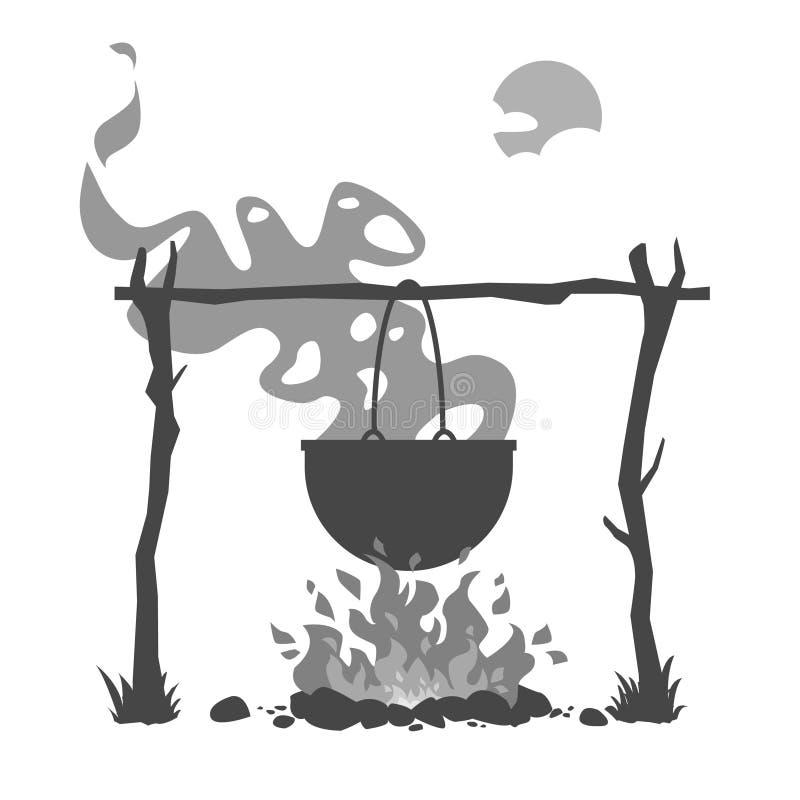 Pot de camping au-dessus d'une illustration plate de feu illustration de vecteur