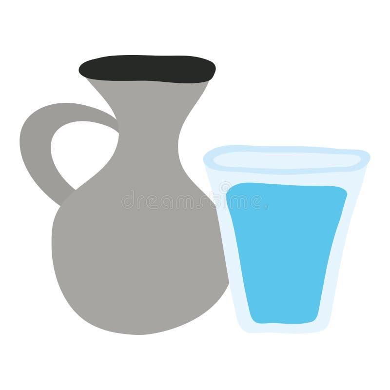 Pot de cantine de pot avec le verre d'eau illustration de vecteur