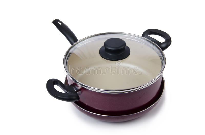 Pot de casserole d'ustensiles de cuisine d'isolement photographie stock