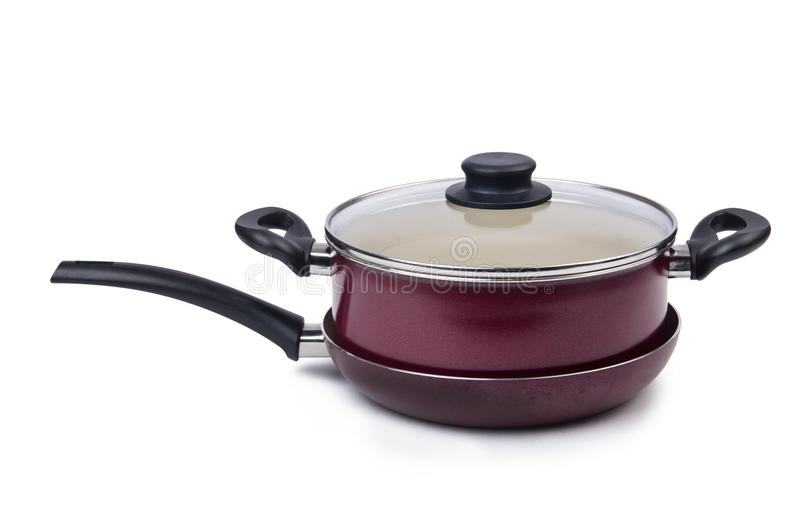 Pot de casserole d'ustensiles de cuisine d'isolement photo libre de droits