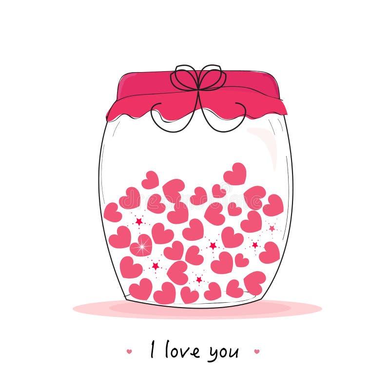 Pot de coeurs, je t'aime écrit la carte de voeux du jour de la valentine illustration libre de droits