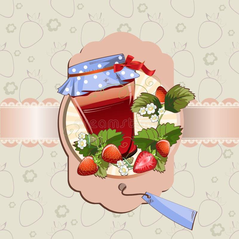Pot de confiture de fraise illustration de vecteur