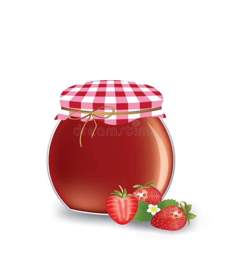 Pot de confiture de fraise illustration stock