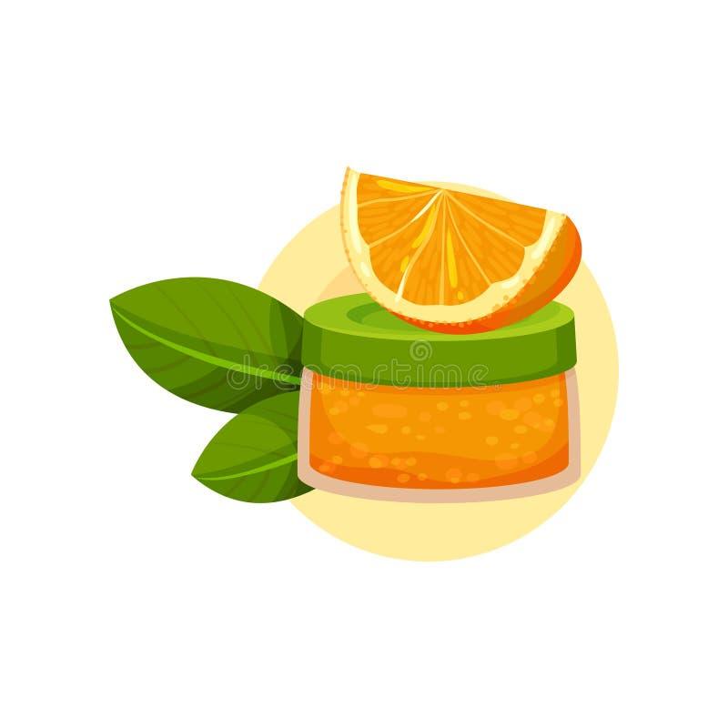 Pot de crème, tranche d'orange et deux feuilles vertes Cosmétique naturel pour des soins de la peau Produit organique Icône plate illustration de vecteur