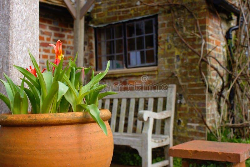 Pot de fleur devant une maison rurale de clergé en Angleterre photos stock