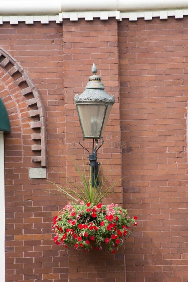 Pot de fleur et lumière accrochants d'old-fashioned photos libres de droits
