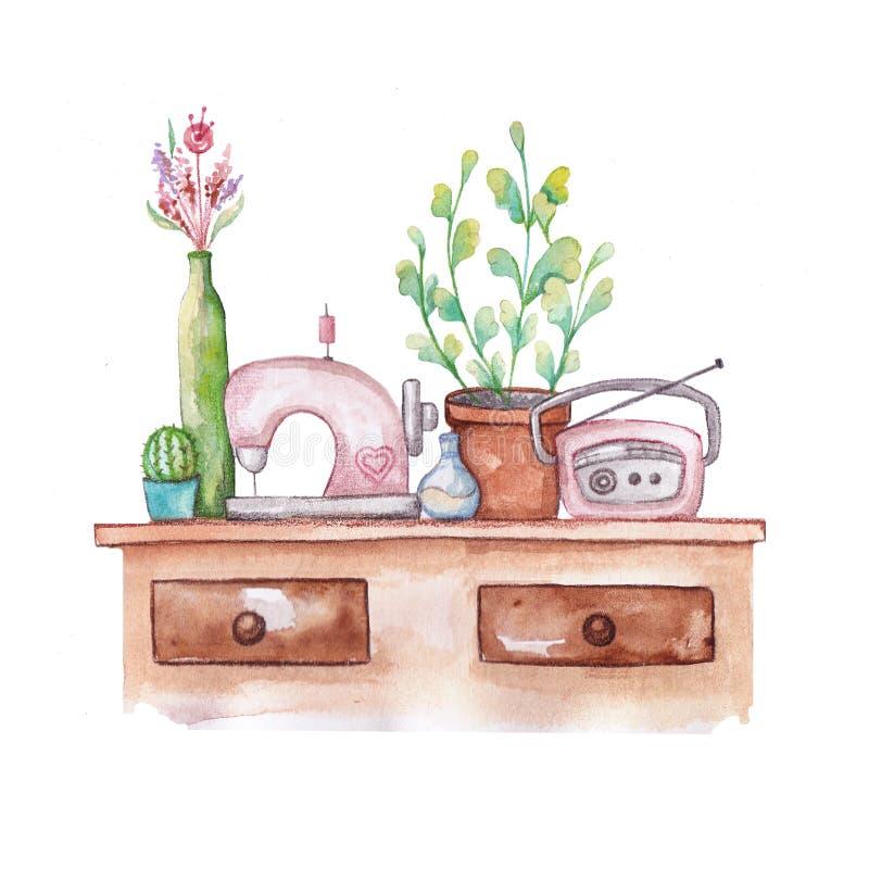 Pot de fleurs mignon, radio, machine à coudre sur la table photo stock
